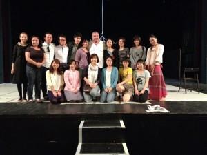 Voluntarii japonezi împreună cu președintele FITS, Constantin Chiriac