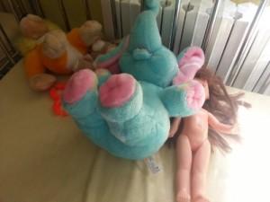 Aceste jucării au fost ale unui copil. Eu le-am fostografiat într-un pat gol, scos pe holul secţiei de oncopediatrie..